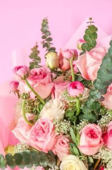 粉色玫瑰花花束高清图