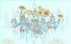 手绘向日葵城堡电视背景墙