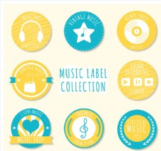 8款彩色圆形音乐标签