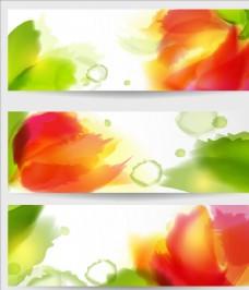 3款炫丽朦胧水彩叠加花朵花瓣