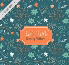 手绘春季蝴蝶和花卉无缝背景