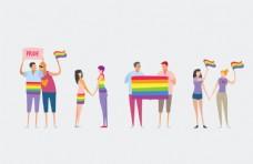 彩虹人物插画