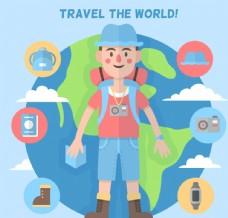 扁平化背包旅行男子和地球