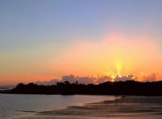 新西兰海滨日落自然风光