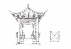 中式景亭四方亭