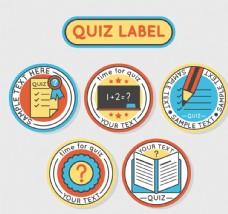 5款彩色小测试标签矢量素材