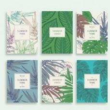 夏季树叶卡片矢量素材