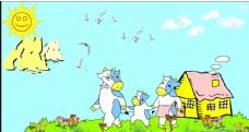 卡通蓝天草园