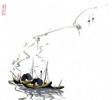 吴冠中写意国画江南水乡中式背景