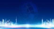 地产蓝色科技活动背景板
