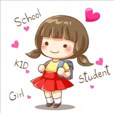 上学小女孩
