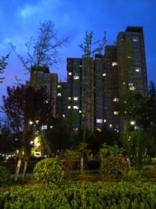 夜色下的公园风景
