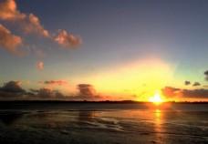 奥克兰海滨夕阳风景