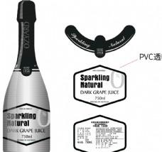 红酒标签设计创意酷炫银色调炫酷