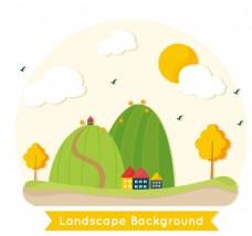 创意高山脚下的房屋风景矢量图