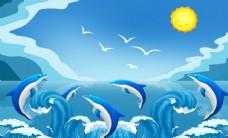 卡通蓝色天空海豚儿童房背景墙