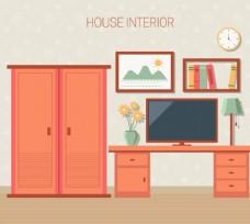 创意彩色卧室设计矢量素材