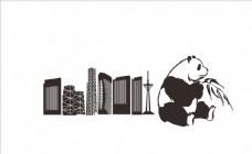 四川元素 成都地标 熊猫 矢量