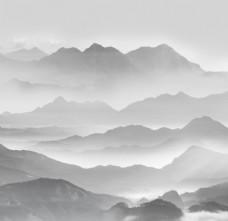 新中式云雾山峰电视背景墙