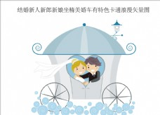 结婚新人新郎新娘坐精美婚车
