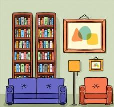 彩绘书房客厅设计