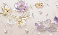 3D浮雕珍珠荷花