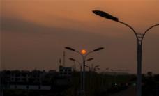 傍晚的夕阳朦胧风景