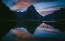 黄昏 夕阳 山峰  大海 湖泊