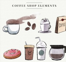 彩绘咖啡店元素