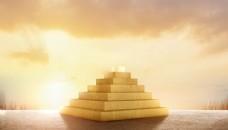 金色背景金字塔台阶领奖台