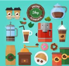 16款彩色咖啡店元素矢量素材
