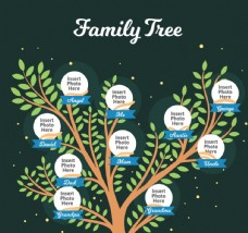 创意绿色家族树矢量素材