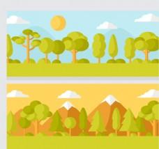 2款扁平化树木和雪山风景矢量图