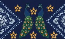 古典孔雀花纹边框客厅背景墙