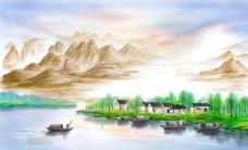 中式山水河边上村落船夫背景墙