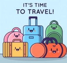 5个可爱表情旅行包矢量素材