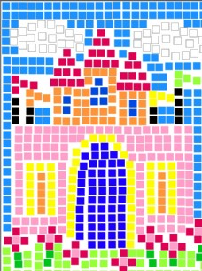 方格子色块魔赛克拼图创意