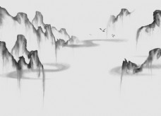 新中式黑白水墨群山电视背景墙