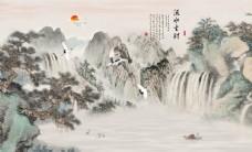 新中式国画电视背景墙