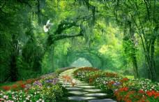 自然景观绿色森林电视背景墙