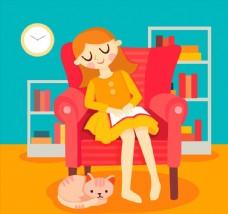卡通沙发上睡着的读书女孩