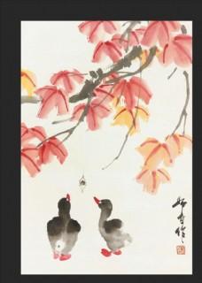 鸟 娄师白 国画 牡丹 石头