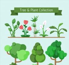 7款绿色树木和花卉