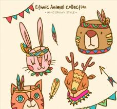 4款彩绘部落花纹动物头像矢量图
