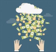 创意下钱币的云和手