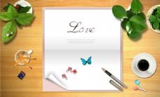 信纸蝴蝶合成桌面