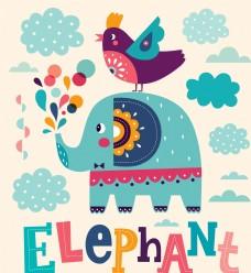 大象小鸟卡通贺卡
