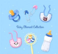 7款卡通婴儿用品矢量素材