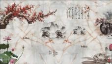 新中式梅花荷花电视背景墙