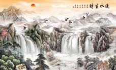 新中式流水生财电视背景墙